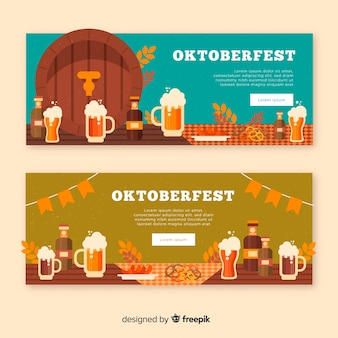 Oktoberfest banner template set in flat design
