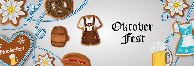Oktoberfest banner with gingerbread cookies