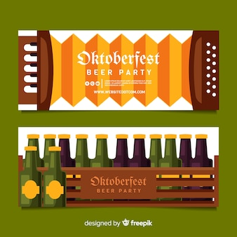Oktoberfest banners on flat design