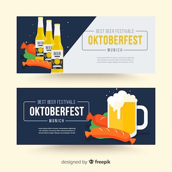 Oktoberfest banners in flat style