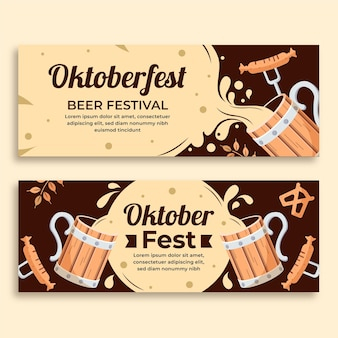 Oktoberfest banners with beer