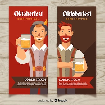 Oktoberfest banners with men holding beer