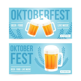 Oktoberfest banners with pints of beer