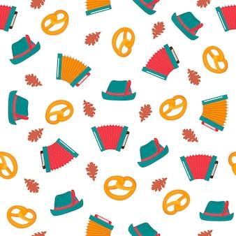 옥토버페스트 바이에른 축제 원활한 패턴 아코디언 모자 프레첼