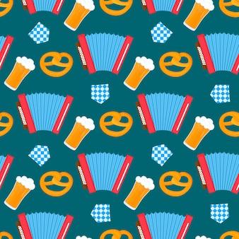 옥토버페스트 바이에른 축제는 아코디언과 맥주 프레첼, 깃발을 곁들인 매끄러운 패턴입니다.
