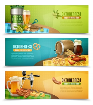 Oktoberfest beer 3 horizontal banners set