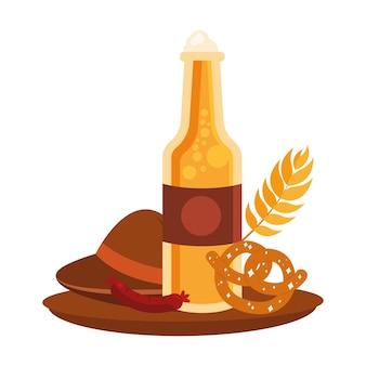 Октоберфест пивная бутылка шляпа колбаса и крендель, фестиваль и праздник в германии