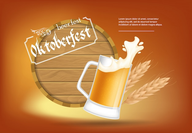 Oktoberfest, beer fest lettering with barrel and beer mug