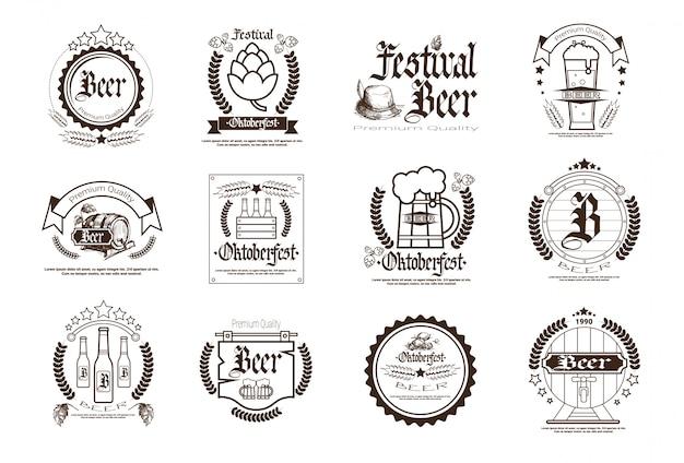 Oktoberfest beer festival badge set