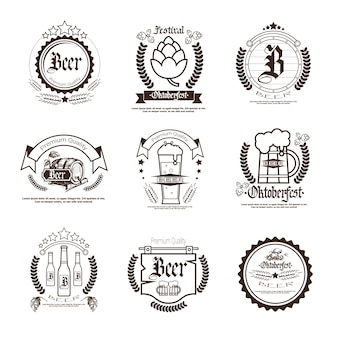 Oktoberfest beer festival badge set