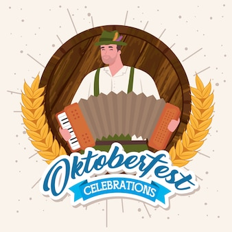 Oktoberfest beer festival celebration and man with accordion vector illustration design
