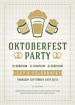 Oktoberfest beer festival celebration party retro typography poster