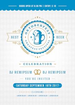 Oktoberfest beer festival celebration retro typography poster
