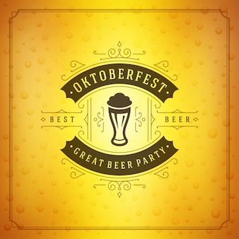 Oktoberfest beer festival celebration vintage greeting card or poster and beer background