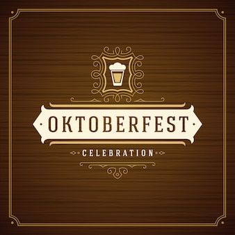 Oktoberfest beer festival celebration vintage greeting card or poster