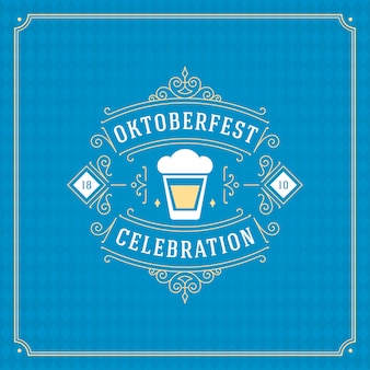 Oktoberfest beer festival celebration vintage greeting card
