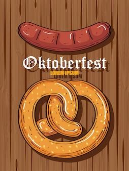Oktoberfest beer festival celebration with pretzel and sausage