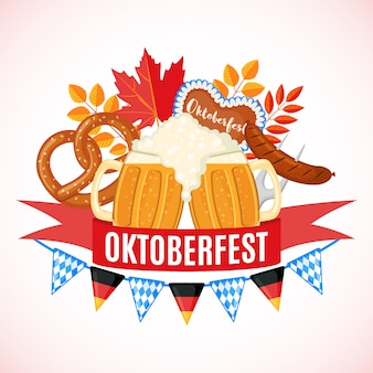 Октоберфест фестиваль пива дизайн в плоском стиле.