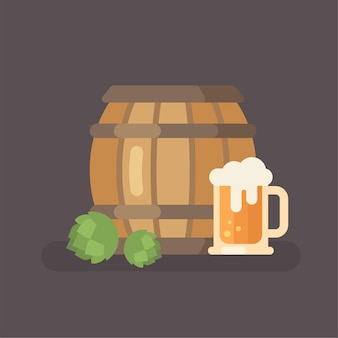 Oktoberfest beer festival flat illustration