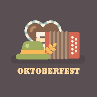 Oktoberfest beer festival flat illustration