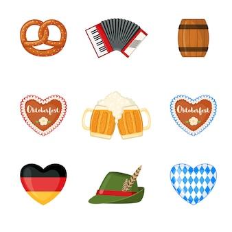 Oktoberfest beer festival icons set in flat style.