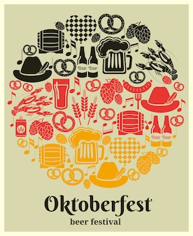 Oktoberfest beer festival label in the german national colors in a round design with german beer in bottles  can  tankard  glass  keg or cask  barrel  hops  barley  sausage  pretzel and a heart