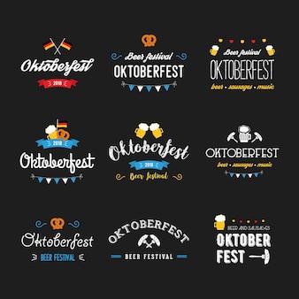 Oktoberfest beer festival lettering typography set