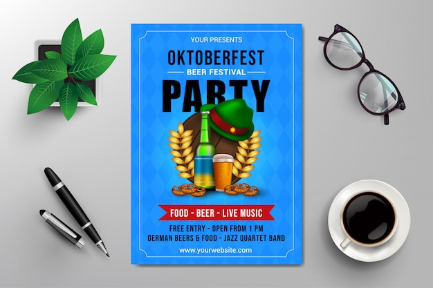 Oktoberfest beer festival party flyer template
