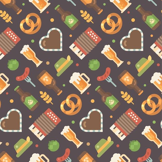 Oktoberfest beer festival pattern on dark background.