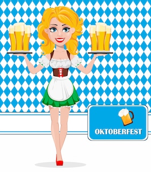 Oktoberfest, beer festival. redhead girl
