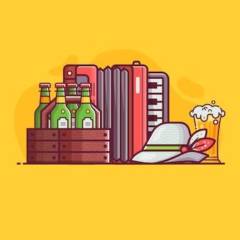 オクトーバーフェストビール祭りのシンボルと要素の概念。