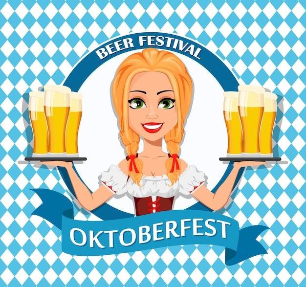 옥토버페스트 맥주 축제 전통 바이에른 의상을 입은 어린 소녀 웨이트리스