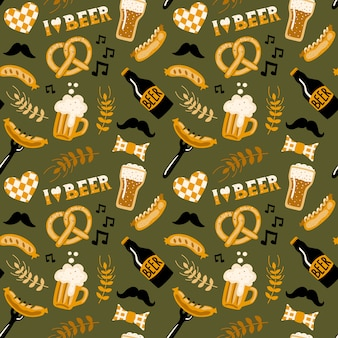 Oktoberfest beer and food seamless pattern.