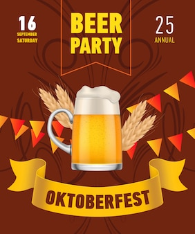 Oktoberfest, beer party lettering with beer mug and wheat