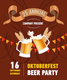 Oktoberfest beer party lettering with clinking beer mugs