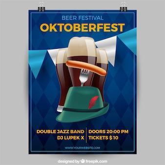 Oktoberfest beers and hat with realistic style