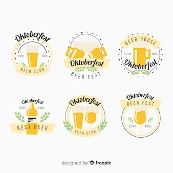 Oktoberfest beers label collection in flat design