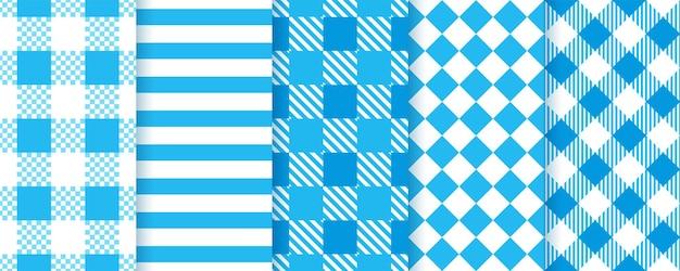 Октоберфест синие бесшовные модели. клетчатые принты. векторная иллюстрация.
