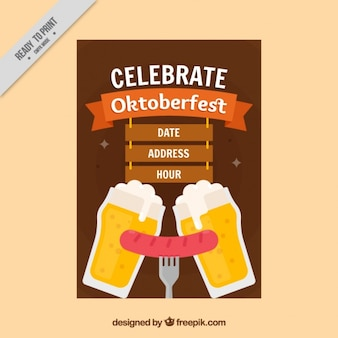 Oktoberfest brochure with beers and delicious sausage