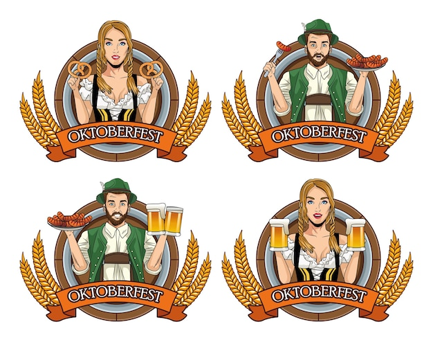 Oktoberfest card with german people with food and beers