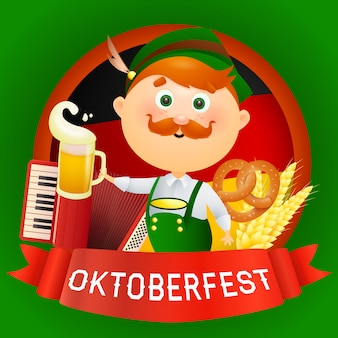 Oktoberfest cartoon man character in traditional costume