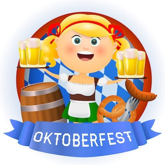 Oktoberfest cartoon woman character with beer and food