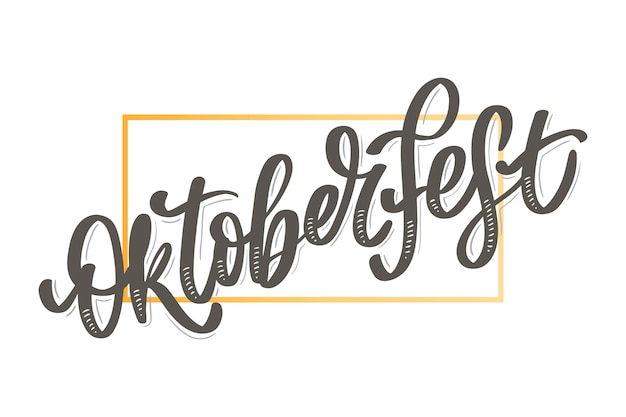 Oktoberfest celebration background. happy oktoberfest in german lettering typography. beer festival decoration badge icon.