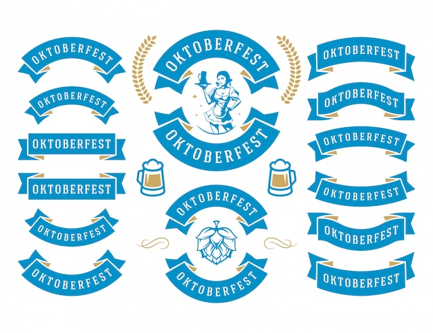 Oktoberfest celebration beer festival ribbons and objects set vector illustration