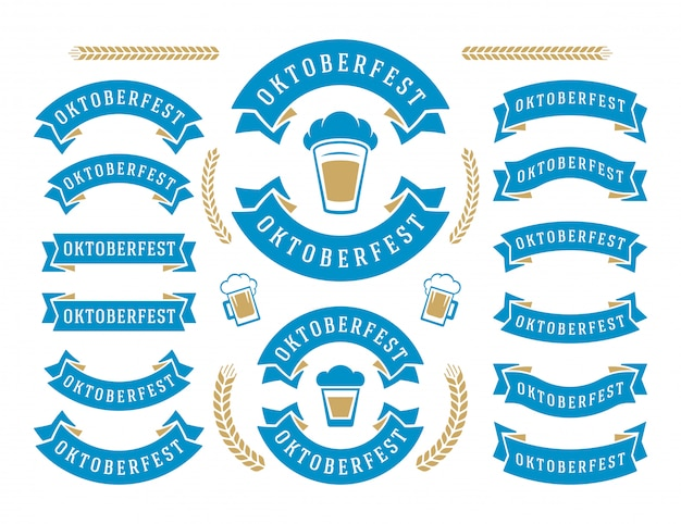 Oktoberfest celebration beer festival ribbons and objects set