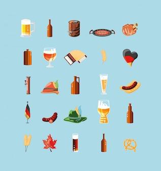 Oktoberfest celebration day with set icons