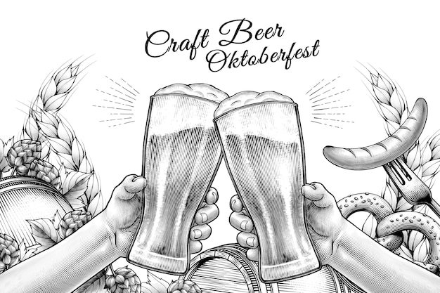 Oktoberfest celebration design in engraved style, hands holding beer glasses and cheering on white background filled with ingredients