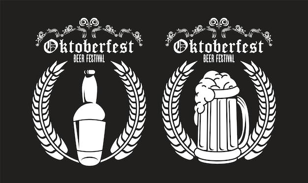 Плакат фестиваля празднования октоберфеста с пивной бутылкой и банкой.