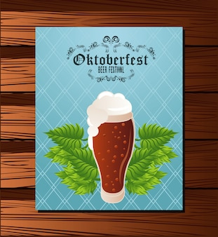 Oktoberfest celebration festival poster with beer glass in wooden background.