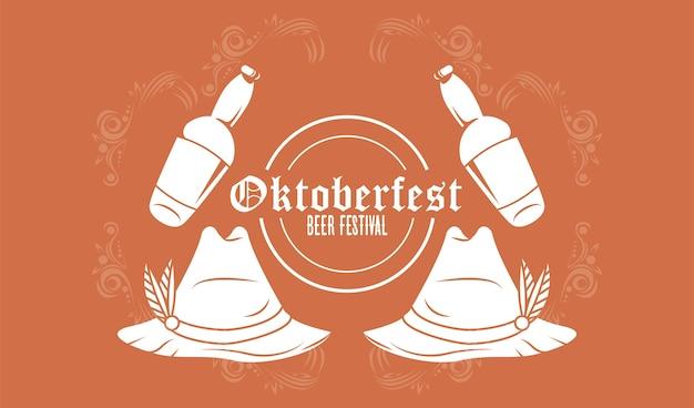 Плакат фестиваля октоберфест с пивными бутылками и тирольскими шляпами.
